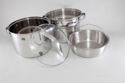 1806-S STAHLBERG Набор посуды MADELINA 4 пр со стеклянными крышками (нерж. сталь)