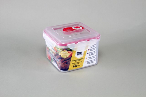 4319-S STAHLBERG Контейнер вакуумный пластиковый для хранения продуктов 136х136х98 мл.- 900 мл розовый