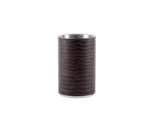 2118 GIPFEL Кулер для вина SIRMIONE с двойными стенками в коже, 11х18,5см. Материал: нержавеющая сталь 18/10, искусственная кожа. Цвет: коричевый.