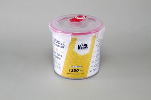 4271-S STAHLBERG Контейнер вакуумный пластиковый для хранения продуктов 140х141 мл.- 1250 мл розовый