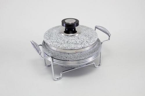 5766-S STAHLBERG Круглый мармит с контейнером из мрамора16х8 см со стальной конструкцией
