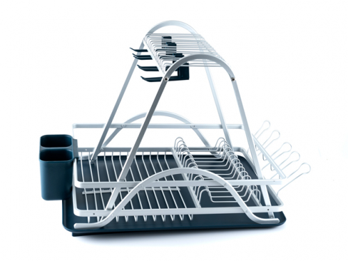 2413 GIPFEL Сушилка для посуды 60х38х41см с отделением для столовых приборов. Материал: алюминий, пластик