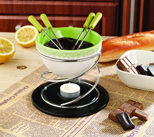 1903 GIPFEL Набор для приготовления шоколадного фондю MINOR  8 пр. 15*13 см/350 мл., зеленая керамическая плошка