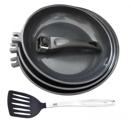 2313 GIPFEL Набор SCELTA: 3 Сковороды 20см, 24см, 28см со съёмной ручкой, лопатка с индукционным дном  (литой алюминий, антипригарное покрытие)