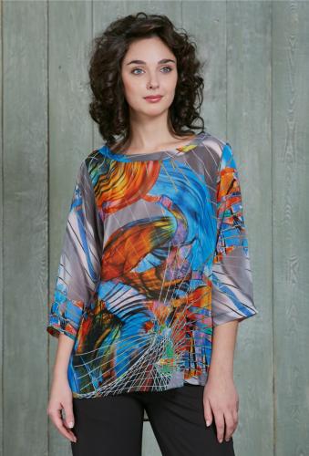 Блуза сине-оранжевый