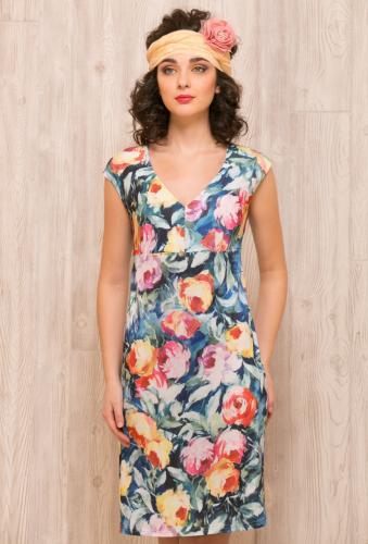 Платье сине-зеленый с цветами