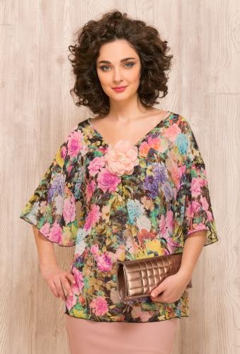 Блуза розово-зеленый