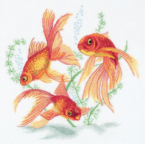 Набор для вышивания  R-7141 Золотые рыбки