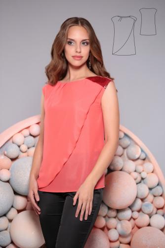 Блуза  коралл (розовый)