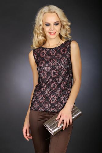 Блуза черный с розовым