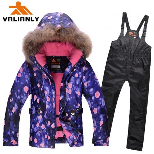 Теплый зимний мембранный комплект Valianly цвет Blue Bubblegum