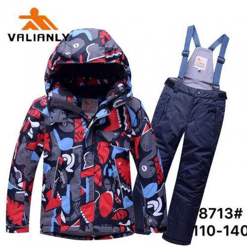 Теплый зимний мембранный комплект Valianly цвет Blue Red Dino