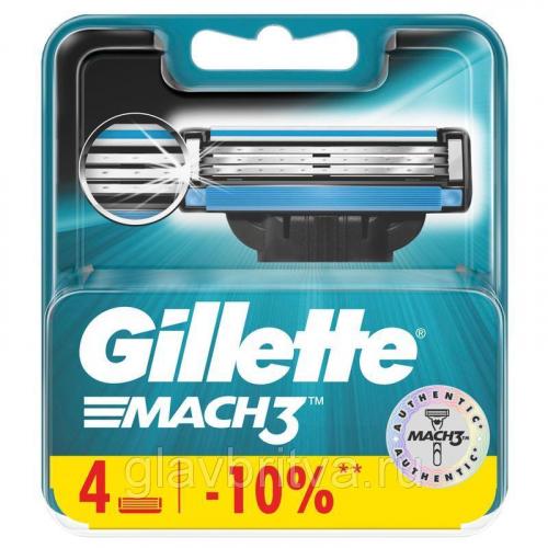 кассета для станков для бритья gillette mach-3, 4 шт.