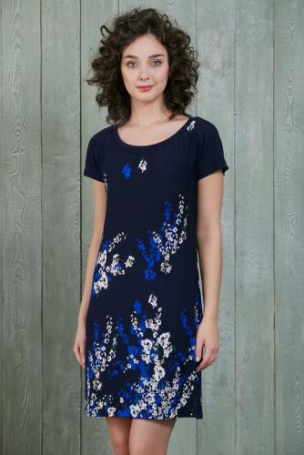 Платье, синий с цветами