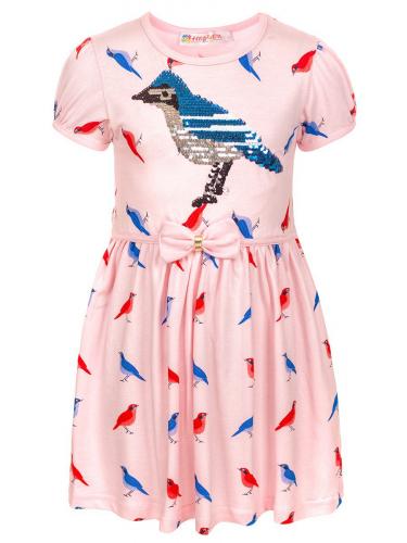 H1184 Платье для девочки декорировано двусторонними пайетками