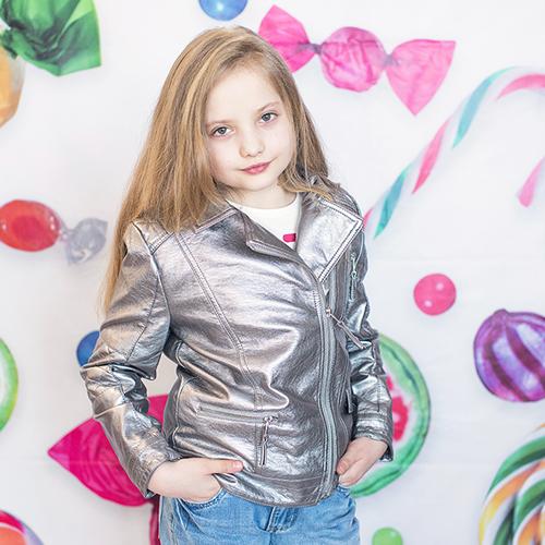 Кожаная куртка-косуха для девочки