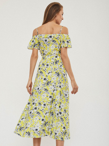 Платье миди на тонких бретелях
