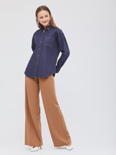 Рубашка oversize c отделочной строчкой