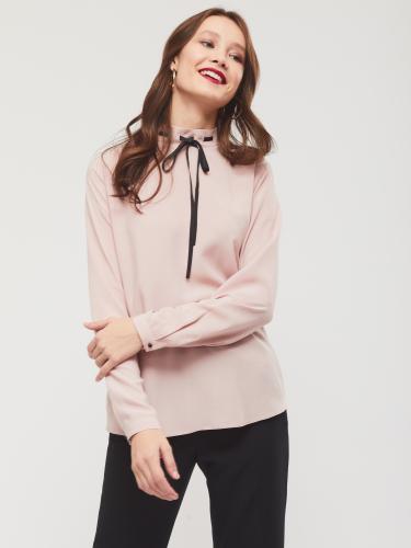 Блуза прямого кроя с воротником-стойкой