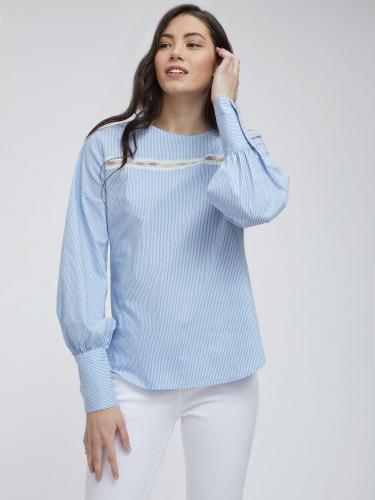 Блуза из хлопка с объемными рукавами