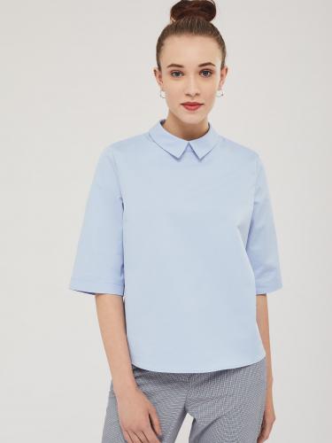 Хлопковая блуза с воротником