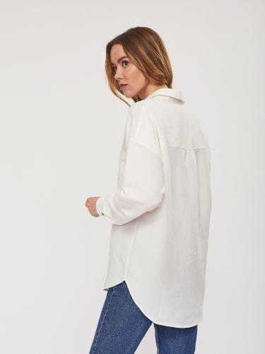 Льняная рубашка с объемными рукавами