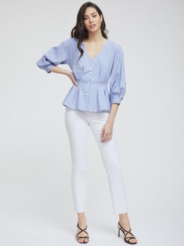 Блуза в полоску с защипами