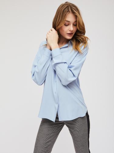 Однотонная блуза из 100% вискозы асимметричного кроя