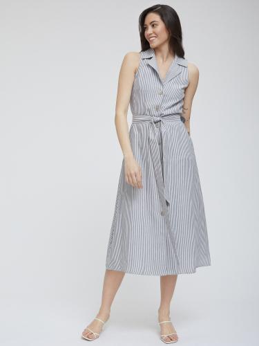 Платье в полоску с поясом