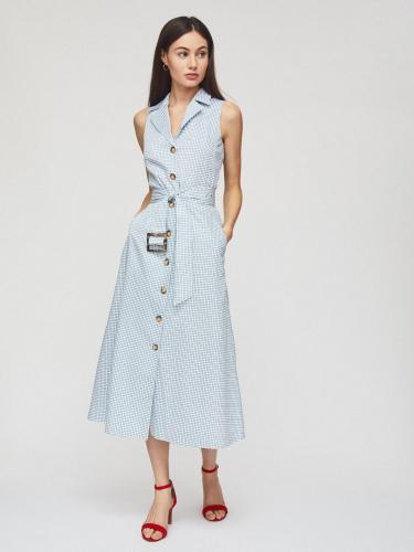 Платье миди с лацканами и поясом