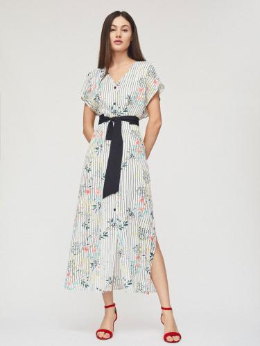 Платье миди с завязками на талии