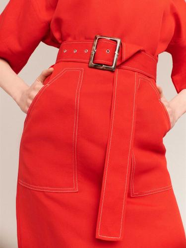 Льняное платье с поясом