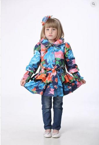 SALE   1900   Куртка детская для девочки М425 Синие цветы