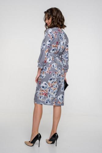 Платье 155, стальной/цветы