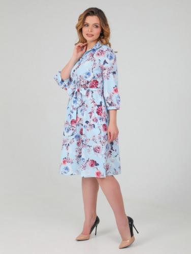 Платье 149, голубой/цветы