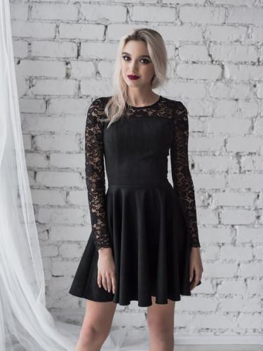 Платье спандекс черное