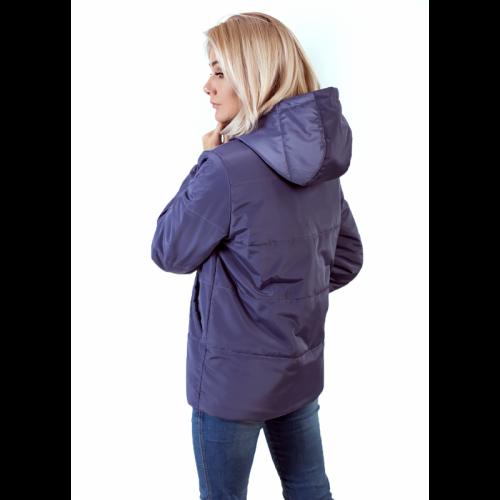 Куртка женская с капюшоном,утепленная синтепоном, цвет- серо-фиолетовый арт. KG002ZN