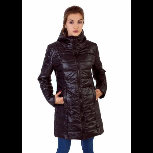 Утепленное полупальто с капюшоном, цвет -черный арт. KG017