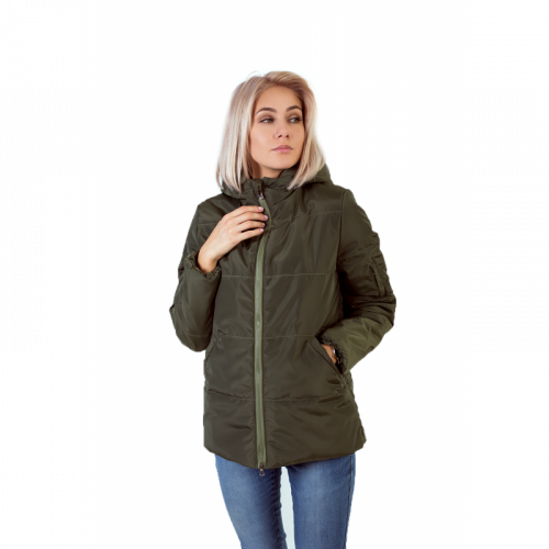 Куртка женская с капюшоном,утепленная синтепоном, цвет- хаки арт. KG002ZN