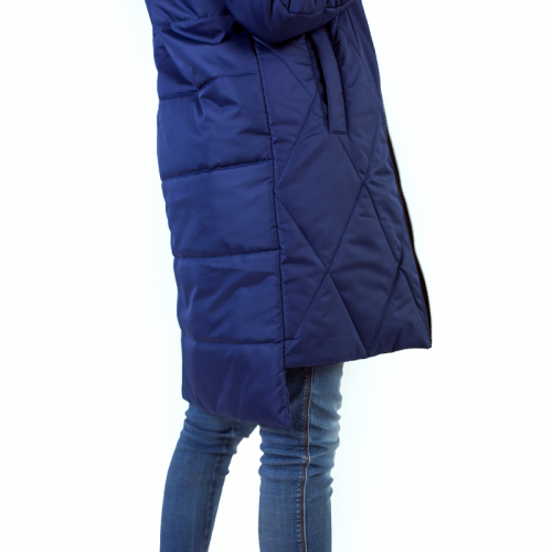 Удлиненный бомбер new, ассиметричного кроя, цвет -синий  арт KG 014
