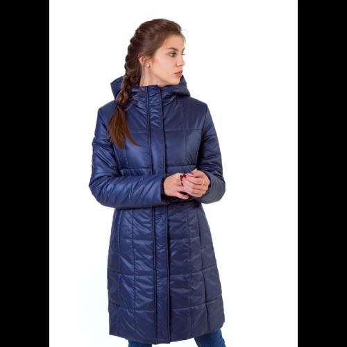 Утепленное полупальто с квадратной стежкой, цвет-синий арт. KG017