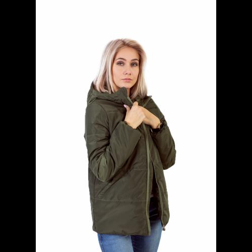 Куртка женская с капюшоном,утепленная синтепоном, цвет- хаки
