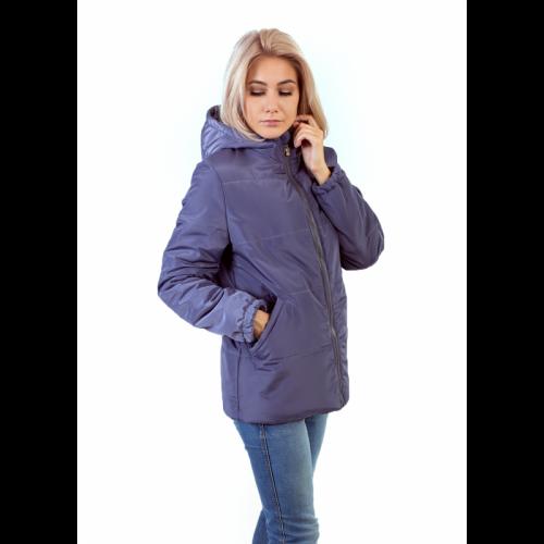 Куртка женская с капюшоном,утепленная синтепоном, цвет- серо-фиолетовый