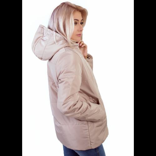 Куртка женская с капюшоном,утепленная синтепоном, цвет- бежевый арт. KG002ZN