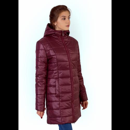 Утепленное стеганное полупальто с капюшоном, цвет - бордовый арт. KG017