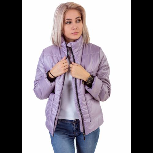 Утепленная женская куртка с обьемным карманом, цвет-лиловый арт. KG013