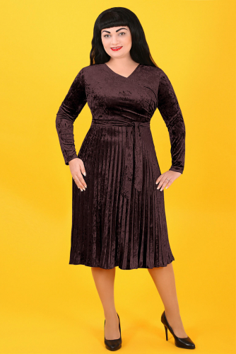 2Г 4693 Платье+пояс коричневый