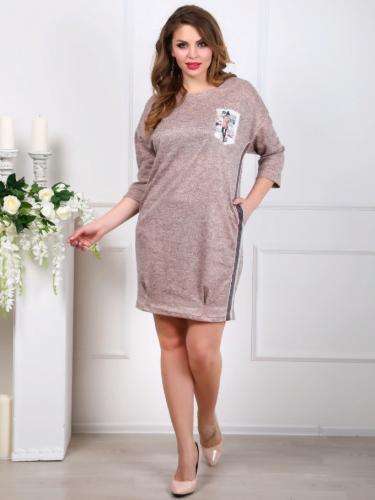 Платье 116, персик меланж