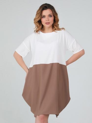 Платье 079/3, молочный/какао