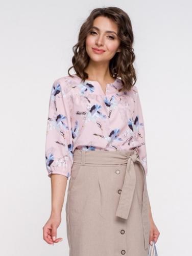Блуза 172, персик/принт